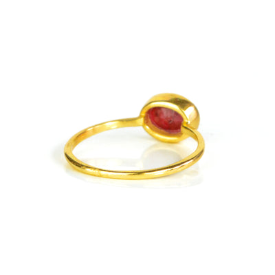 Small Oval Dyed Ruby Ring : July Birthstone