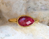 Ruby teardrop cut bezel set ring - July Birthstone
