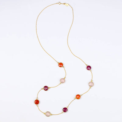 Long Ruby, Carnelian, Pink Quartz bezel station necklace