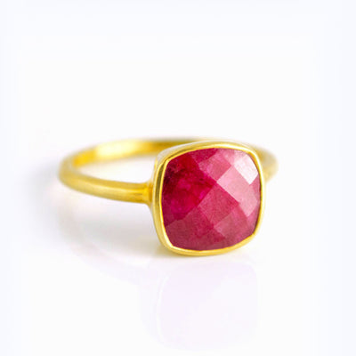 Ruby Cushion Bezel Ring - July Birthstone