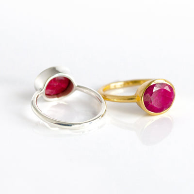 Oval Dyed Ruby Ring - July Birthstone