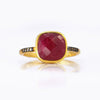 Ruby Pave Cushion Ring - July Birthstone