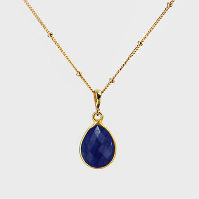 Lapis Lazuli Bezel Station Necklace - September Birthstone