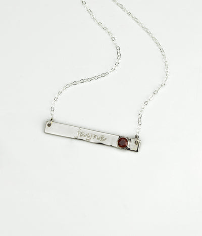 April Custom Bar Necklace with Bezel Birthstone