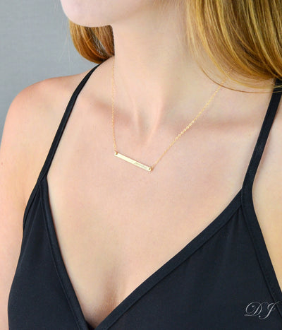 Morse code skinny bar necklace - Silver, Gold or Rose Gold Bar