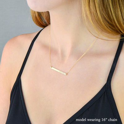 Skinny Bar Necklace, Personalized with Name, Date, or Coordinates