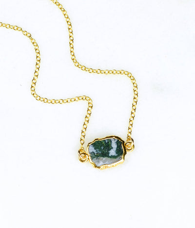 Natural Gemstone Slice Connector Necklace