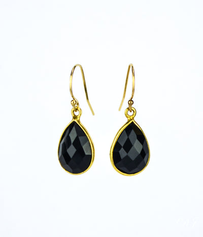 Black Onyx Small Teardrop Bezel Set Earrings