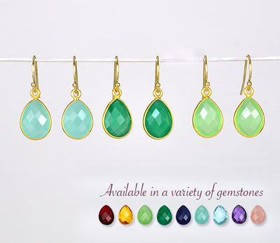 Clear Quartz Small Teardrop Bezel Set Earrings - April Birthstone