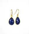 Lapis Lazuli Small Teardrop Bezel Set Earrings - September Birthstone