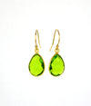 Peridot Small Teardrop Bezel Set Earrings - August Birthstone