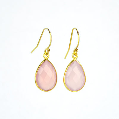 Pink Chalcedony Small Teardrop Dangle Earrings - October Birthstone