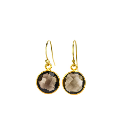 Smoky Quartz round bezel set Earrings