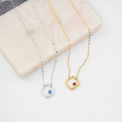 Personalized Birthstone Minimalist Square Pendant Necklace