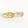 Lemon Quartz Oval Bezel Set Ring