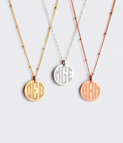 Personalized Swirly Monogram Necklace - Initials Disk Necklace