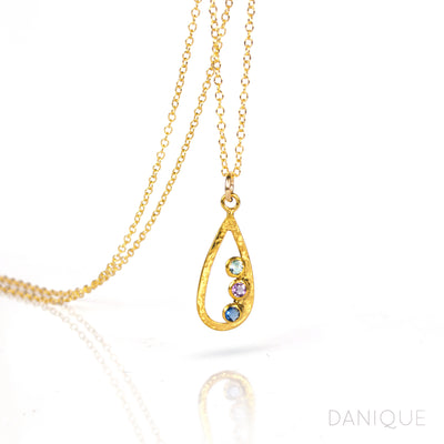Mother's Birthstone Teardrop Pendant Necklace