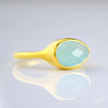 Blue Chalcedony teardrop cut bezel set ring