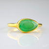 Chrysoprase teardrop cut bezel set ring
