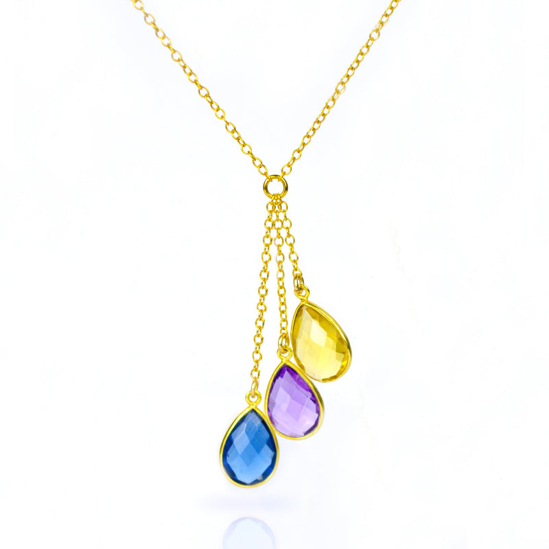 Style 123319 Diamontrigue Jewelry: Lariat Style Birthstone Necklace