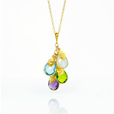Cascade Birthstone Necklace with Stamped Leaf Charms Vermeil Gold Gold-filled Jewelry 4 Teardrop Birthstones