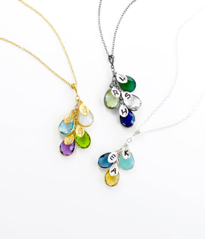 Mother's Day Gift for Mom: Birthstone Initial Cascade Necklace