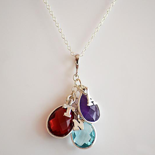 Personalized Birthstone Necklace 3 Birthstones Amp 3
