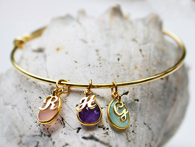 Personalized Natural Birthstone bangle bracelet - mothers bangle