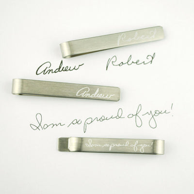 Tie Clip with Actual Signature or Handwriting