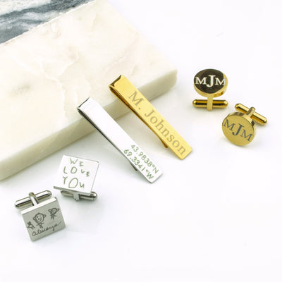 Custom Engraved Metal Tie Clip & Cufflinks Set