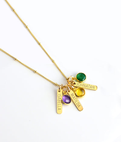 Child name necklace for Mom - Custom Birthstone necklace with kids name