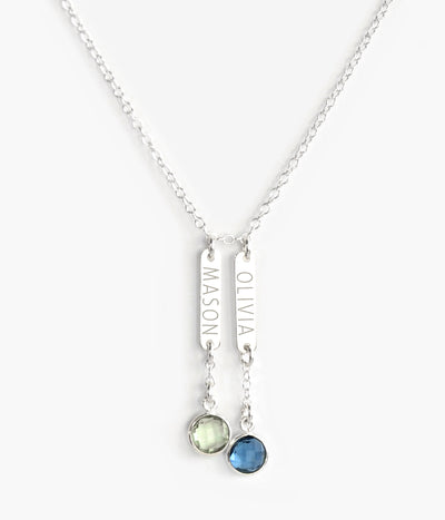 Mother's Bar Necklace with Kid's Names and Birthstone Charms