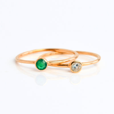 Rose Gold plated ring combo green onyx blue topaz gemstones