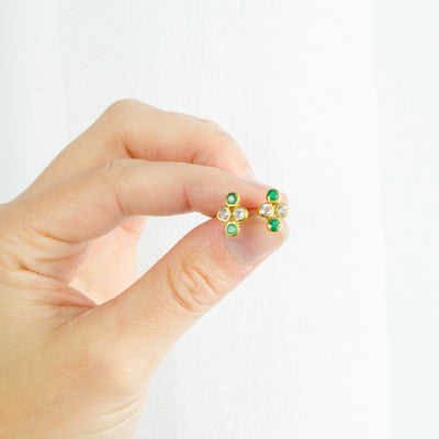 Cluster of 4 Birthstones Stud Earrings : All Birthstones Available