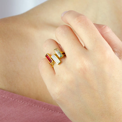 Tiny Ruby Bar Ring : July Birthstone