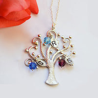 Personalized Custom birthstone charms Family Tree Necklace - available in rose or yellow gold or silver