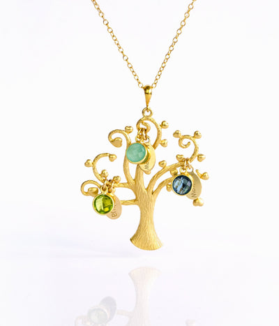 Family Tree Necklace with kids Birthstones & Names