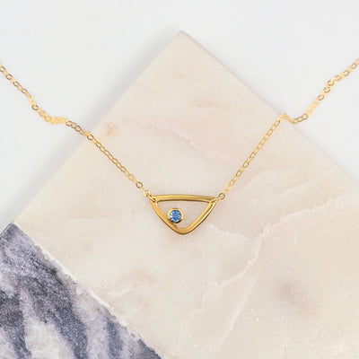 Personalized Birthstone Minimalist Triangle Pendant Necklace