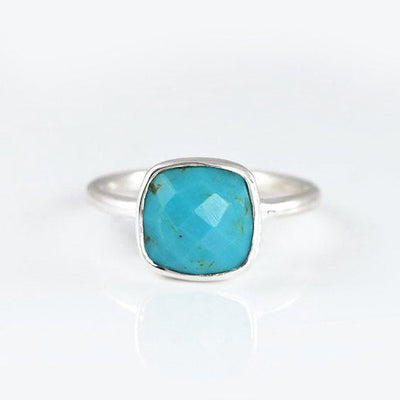 Turquoise Cushion Bezel Ring - December Birthstone