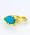 Turquoise teardrop cut bezel set ring - December Birthstone