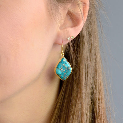 Mosaic Copper Turquoise Statement Earrings