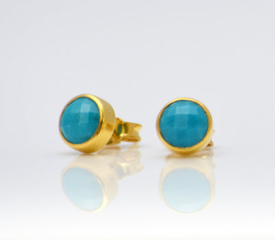 Turquoise Small Round Bezel Set Stud Earrings - December Birthstone