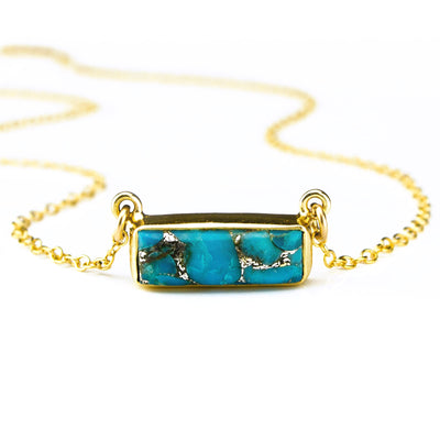 Copper Turquoise Bar Necklace : December Birthstone : Adira Series