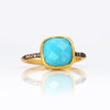 Turquoise Pave Cushion Ring - December Birthstone