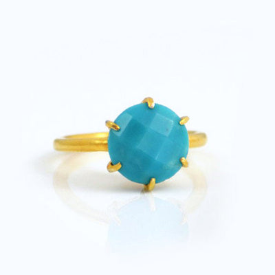Turquoise Round Prong Set Ring - December Birthstone