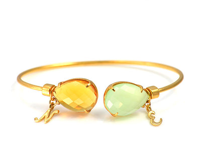 Mother's Adjustable Bangle Bracelet with Two Birthstones & Letter Charms