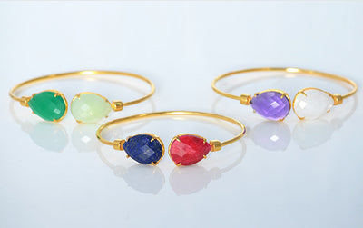 Mother's Adjustable Bangle Bracelet with Two Large Birthstones