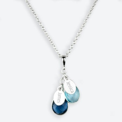 Engraved Name with Teardrop Birthstone Mother's Necklace