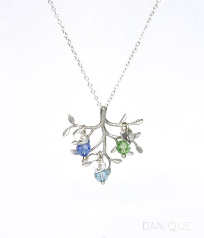 Family Tree Necklace with Kids Birthstone Crystals and Initials