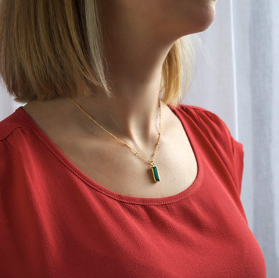 Green Onyx Vertical Bar Necklace : May Birthstone : Adira Series